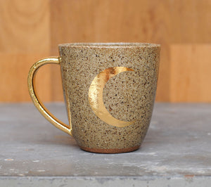 CRESCENT MOON MUG - GOLD -  CHOCOLATE CLAY - CLEAR GLAZE