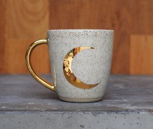 CRESCENT MOON MUG - GOLD -  SALT & PEPPER CLAY - CLEAR GLAZE