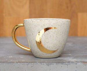 CRESCENT MOON CUP - GOLD - SALT & PEPPER CLAY - CLEAR GLAZE