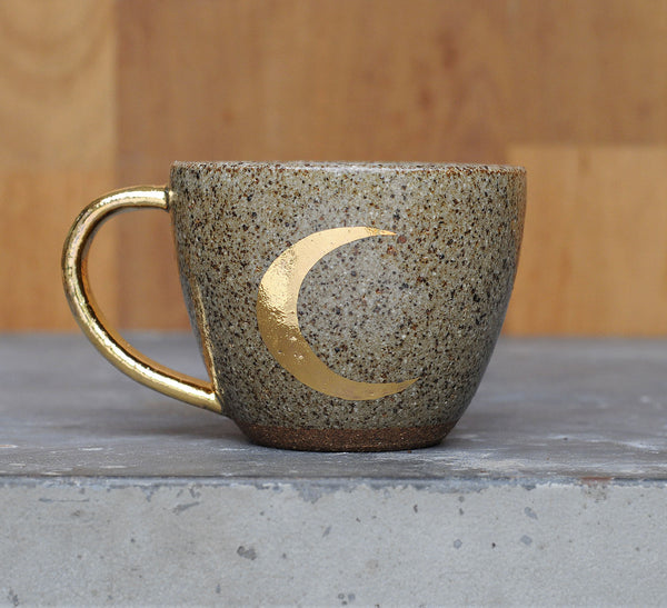 CRESCENT MOON CUP - GOLD - CHOCOLATE CLAY - CLEAR GLAZE