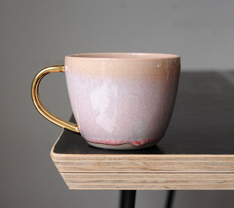 AURORA MUG - PINK OPAL GLAZE - WHITE CLAY - GOLD HANDLE