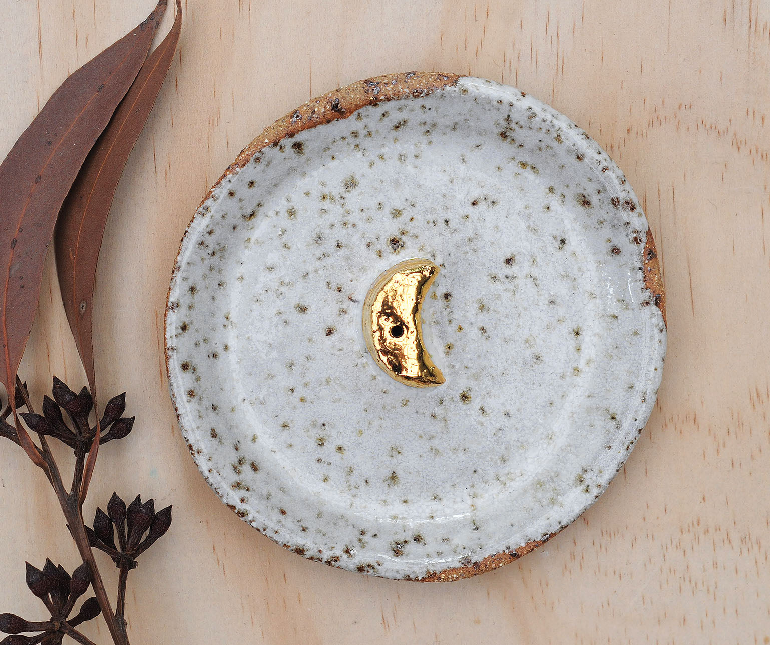 GOLD MOON INCENSE HOLDER - WHITE DRIBBLE GLAZE - SPECKLED CLAY