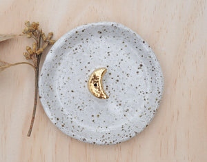 GOLD MOON INCENSE HOLDER - WHITE GLAZE - SPECKLED CLAY