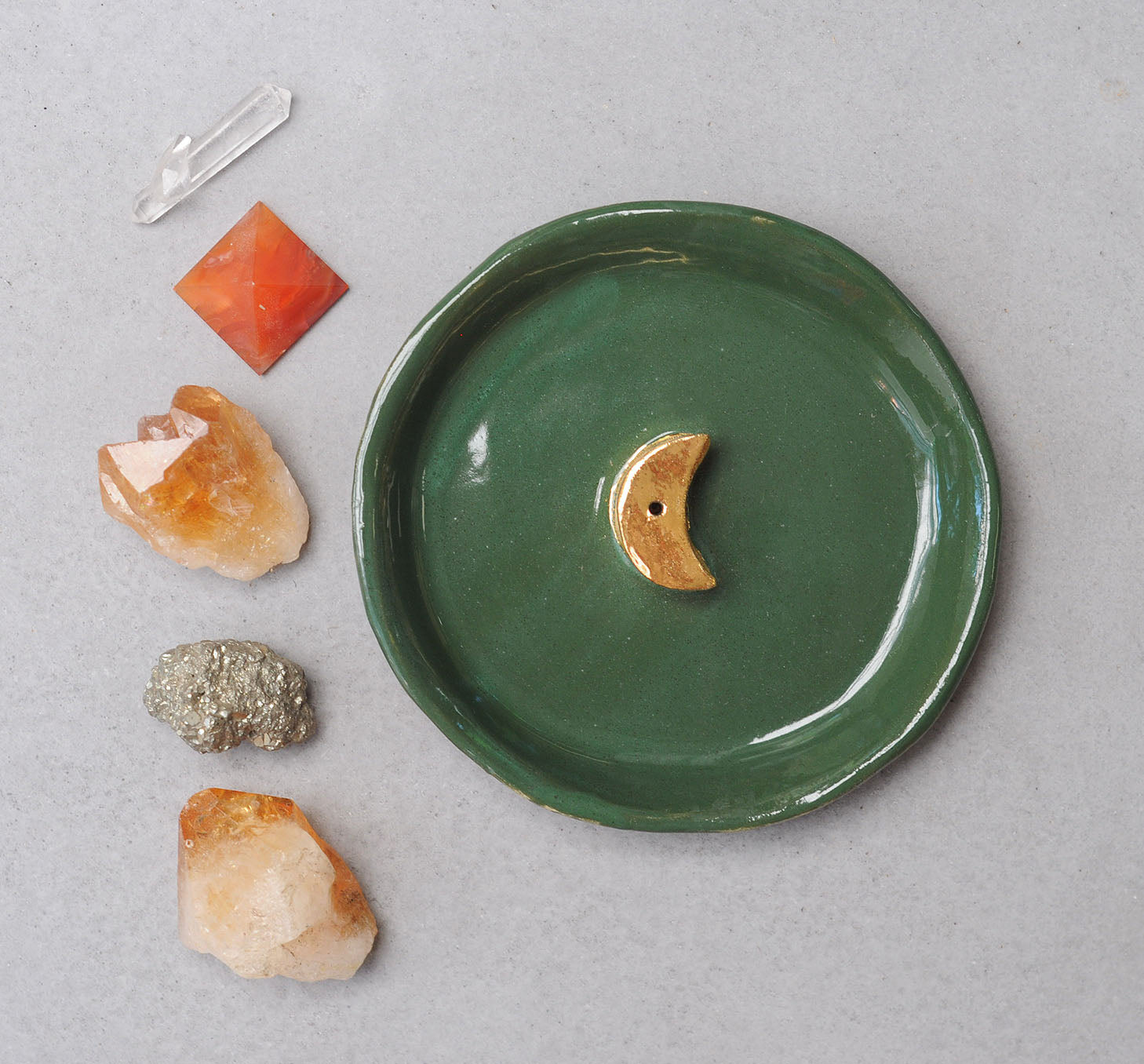 GOLD MOON INCENSE HOLDER - GREEN GLAZE - WHITE CLAY