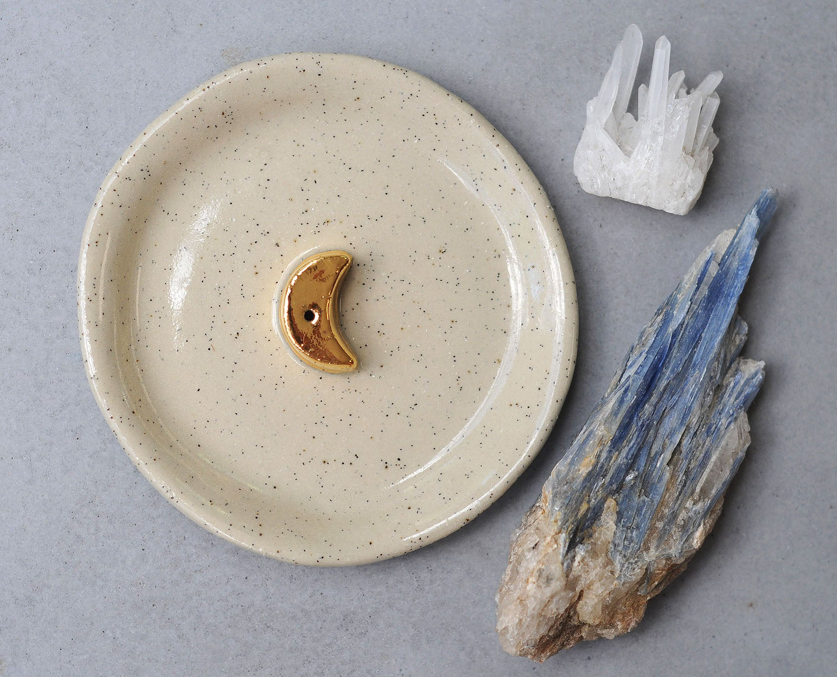 GOLD MOON INCENSE HOLDER - CLEAR GLAZE - SALT & PEPPER CLAY