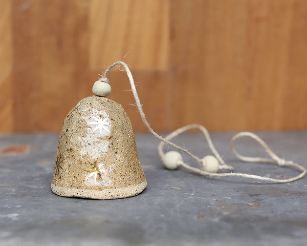 GOLD STAR BELL - SPECKLED CLAY - CLEAR GLAZE