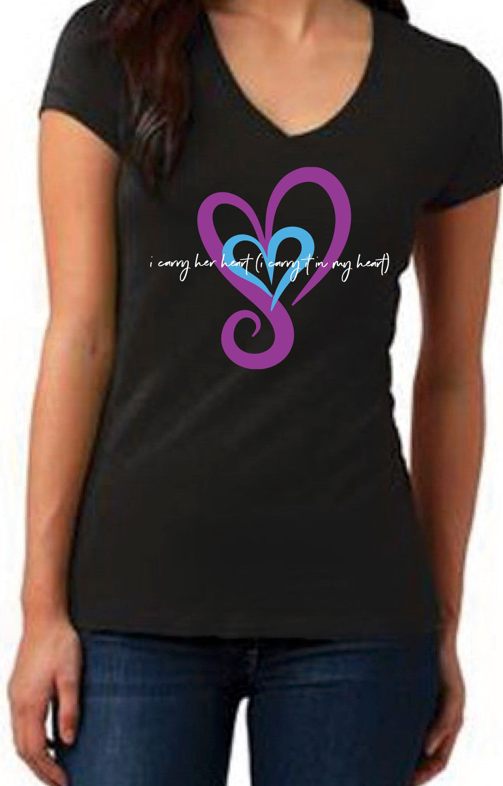 I Carry Her Heart (I carry it in my heart) V-Neck Tee