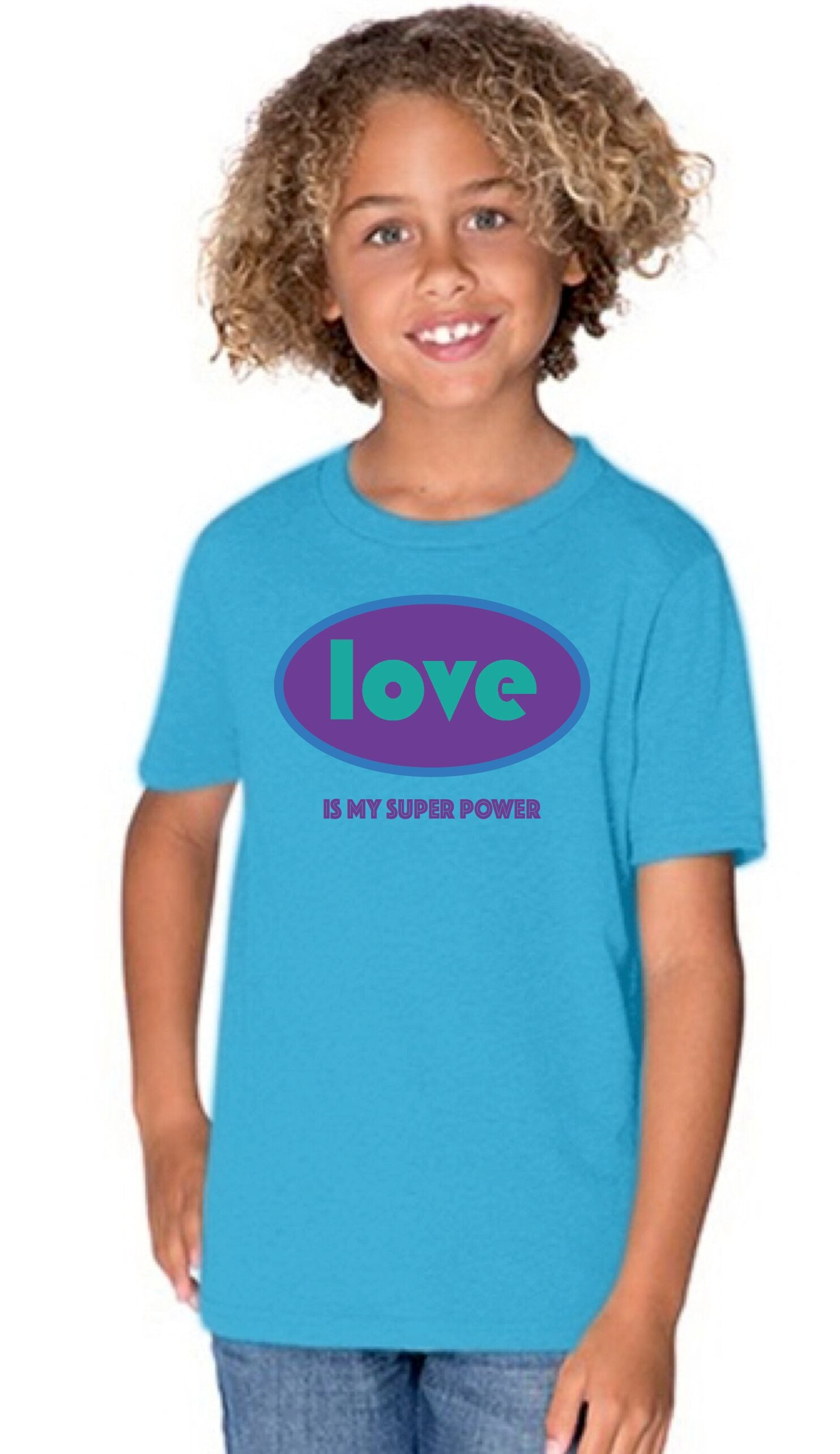 Love is My Superpower Kids Tee (Boys, Blue or Ash grey)