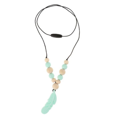 Chew Necklace - Mint Green Feather oral motor - Sensory Monkey Autism ASD Aspergers Sensory Needs, ADHD Attention Deficit Disorder Spectrum Children