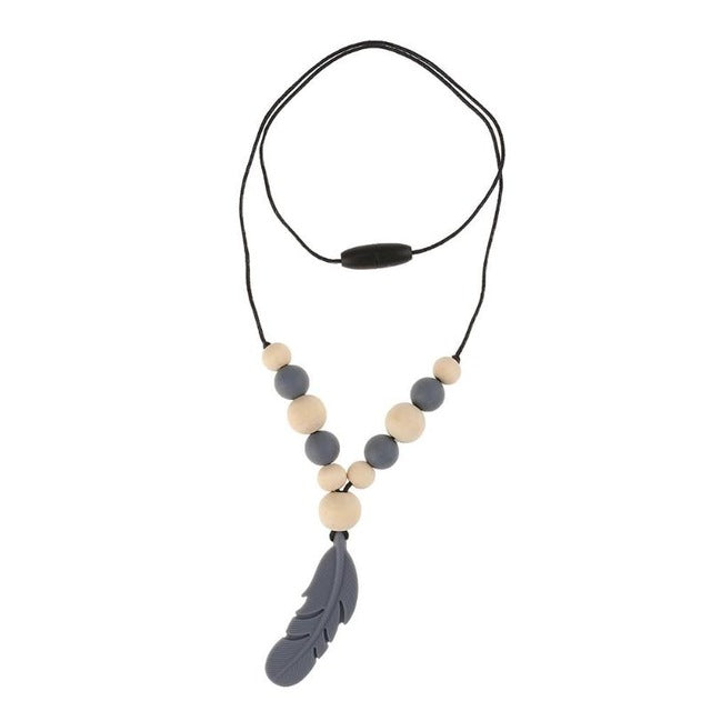 Chew Necklace - Grey Feather oral motor - Sensory Monkey Autism ASD Aspergers Sensory Needs, ADHD Attention Deficit Disorder Spectrum Children