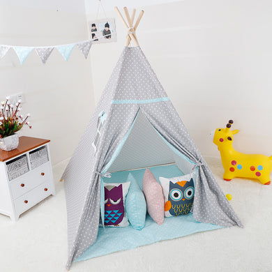 Calm Corner Teepee - Grey Polka Dot with Blue Trim tents - Sensory Monkey Autism ASD Aspergers Sensory Needs, ADHD Attention Deficit Disorder Spectrum Children
