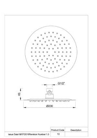 CARRINGTON ROUND SHOWER ROSE 200MM CHROME