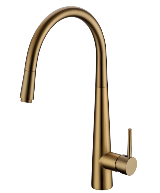 PENTRO PULL OUT KITCHEN MIXER BRUSHED YELLOW GOLD