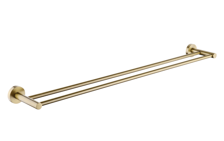 PENTRO DOUBLE TOWEL RAIL 800MM BRUSHED YELLOW GOLD