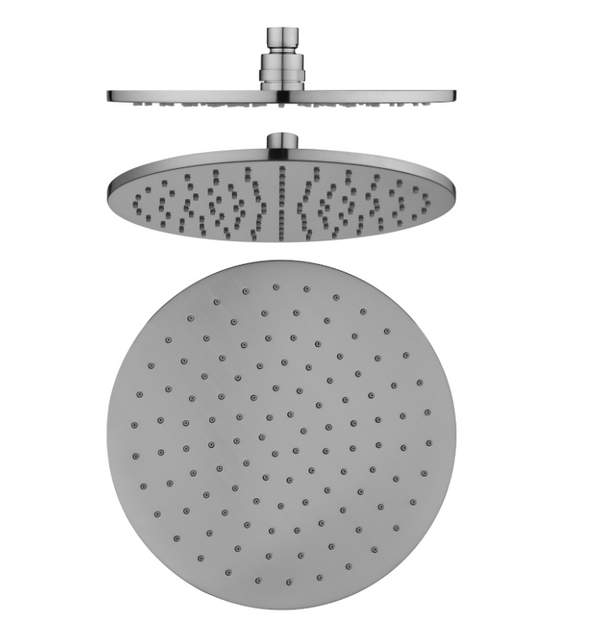 PENTRO 250mm SOLID BRASS ROUND RAINFALL SHOWER HEAD BRUSHED NICKEL