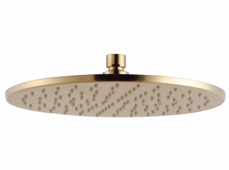PENTRO 250mm SOLID BRASS ROUND RAINFALL SHOWER HEAD BRUSHED YELLOW GOLD