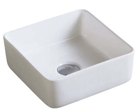 SQUARE CERAMIC BASIN WHITE