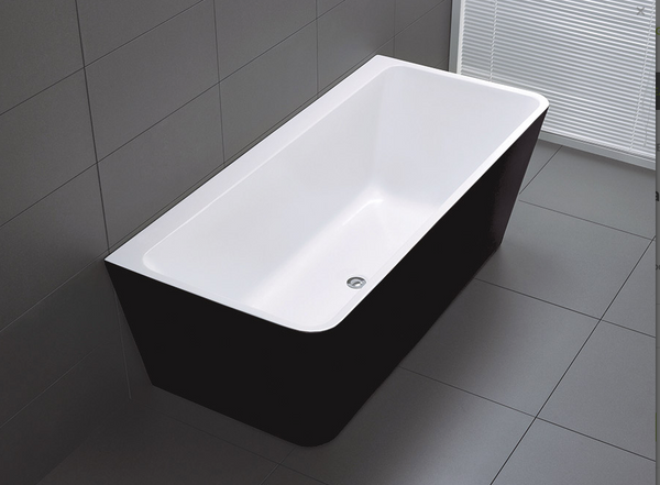 FLORENCE BACK TO WALL BATH BLACK 1500 (CLICK & COLLECT ONLY)