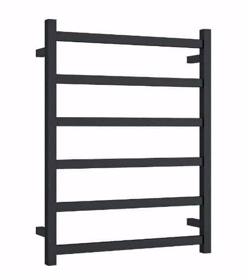 STRAIGHT SQUARE  6 BAR HEATED TOWEL LADDER MATTE BLACK