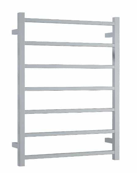 STRAIGHT SQUARE  7 BAR HEATED TOWEL LADDER CHROME