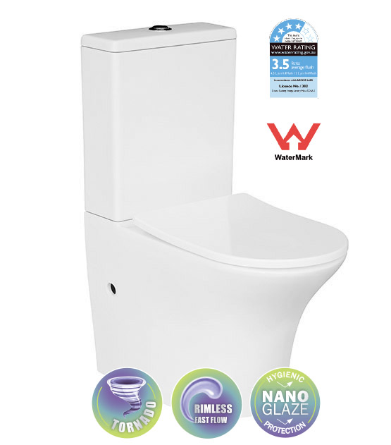 RIMLESS & TORNADO TOILET SUITE (T6096) (CLICK & COLLECT)