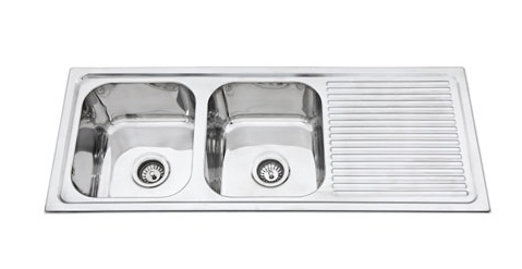 STAINLESS STEEL PRESSED KITCHEN SINK DOUBLE BOWL WITH DRAINER BKS-PA200 (CLICK & COLLECT) (BM)