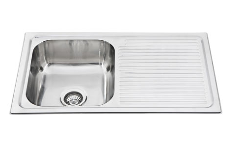 STAINLESS STEEL PRESSED KITCHEN SINK SINGLE BOWL WITH DRAINER (CLICK & COLLECT) (BM)
