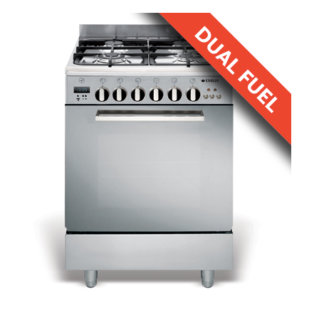 EMILIA 60cm Stainless Steel STOVE WITH 4 BURNER GAS HOB,WOK BURNER, ELECTRIC OVEN