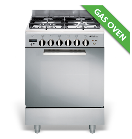 EMILIA 60cm Stainless Steel STOVE WITH 4 BURNER GAS HOB,WOK BURNER, GAS FAN ASSISTED OVEN/ELECTRIC GRILL