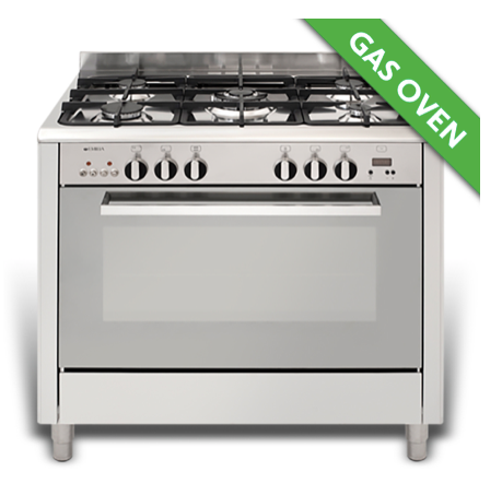 EMILIA 90cm S/S Stove, 5 burner gas hob, wok, gas fan assisted oven/electric grill