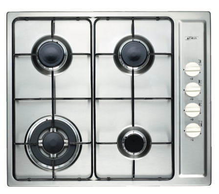 EMILIA 60cm S/S 4 burner gas cooktop, wok burner & push button electronic ignition