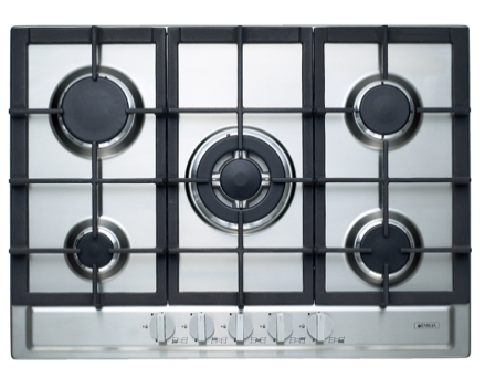 EMILIA70cm S/S 5 burner gas cooktop, centre wok burner, cast iron trivets