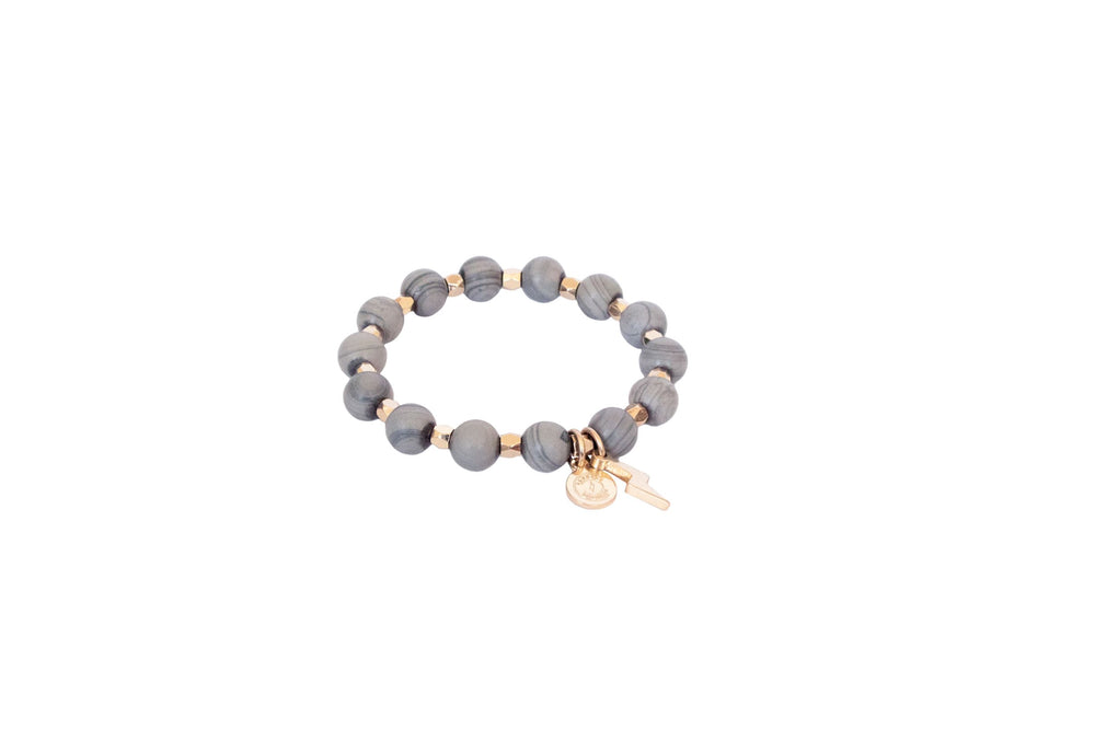 Women's Beaded Gray Circle of Courage Bracelet