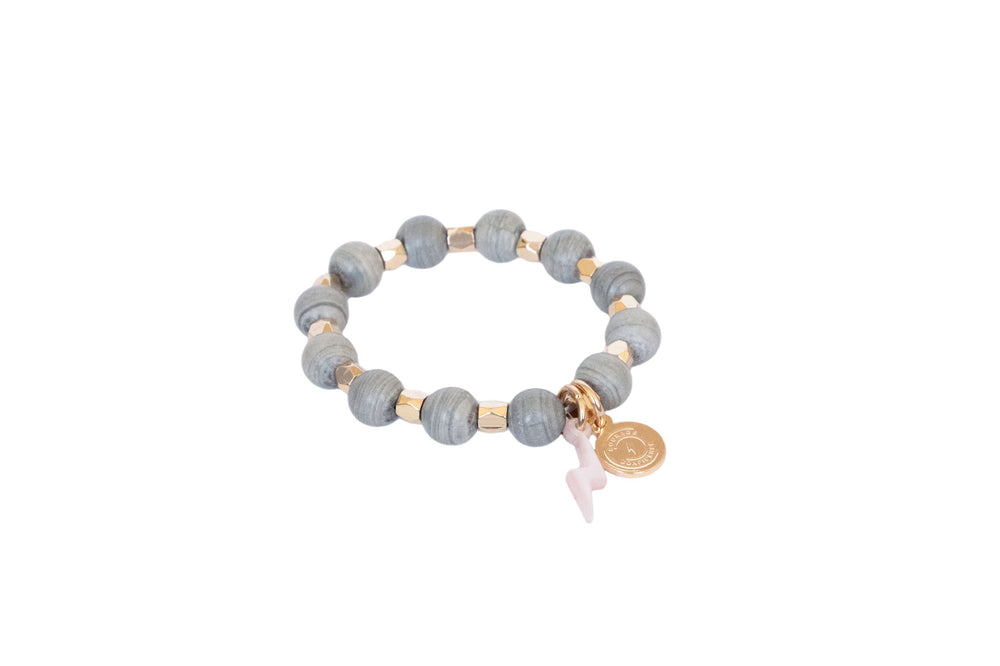 Girl's Beaded Gray Circle of Courage Bracelet