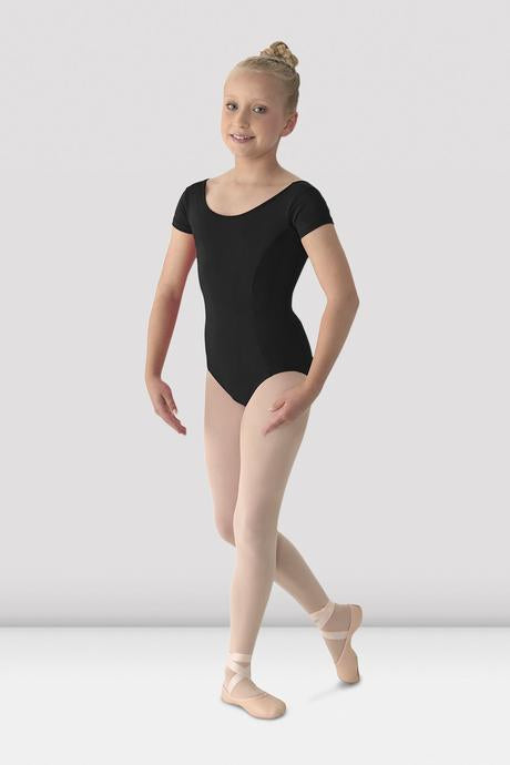 BLOCH - M515CD Mirella Girls Classic Short Sleeve Leotard Microfiber  Black