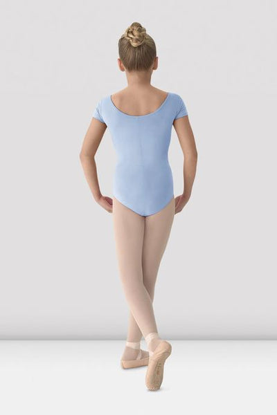 BLOCH - M515C Mirella Classic Short Sleeve Leotard Cotton Girls Light Blue