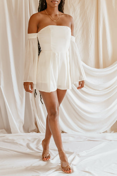 'Isabella' White Off Shoulder Romper - Clothing