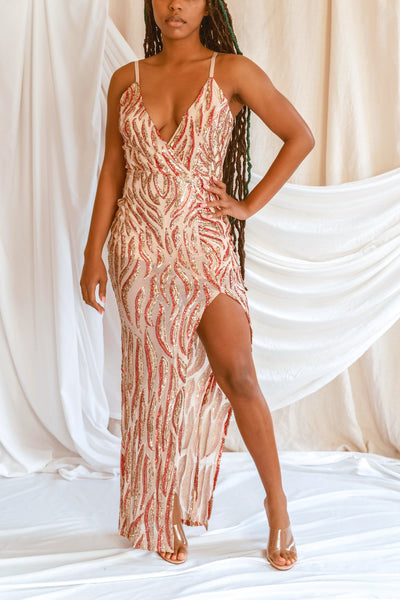 'Party Glam' Rose Gold Sequin Bodycon Maxi Dress - Clothing