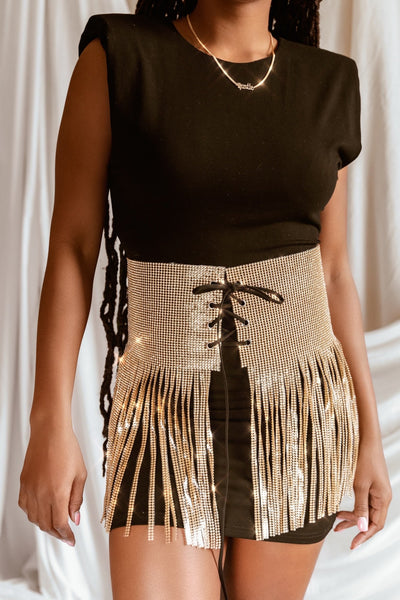 'RIA' Rhinestone Fringe Statement Belt (Gold) - M/L - Accessories Belts