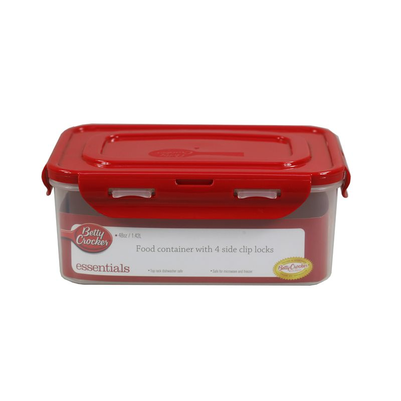 Food Storage Container - Rectangular / 1.42 Litre (With 4 Sided Clip Lock Lid) Microwave / Dishwasher & Freezer Safe (Betty Crocker)
