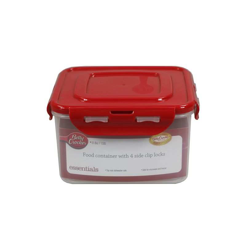 Food Storage Container - Square / 1.53 Litre (With 4 Sided Clip Lock Lid) Microwave / Dishwasher & Freezer Safe (Betty Crocker)