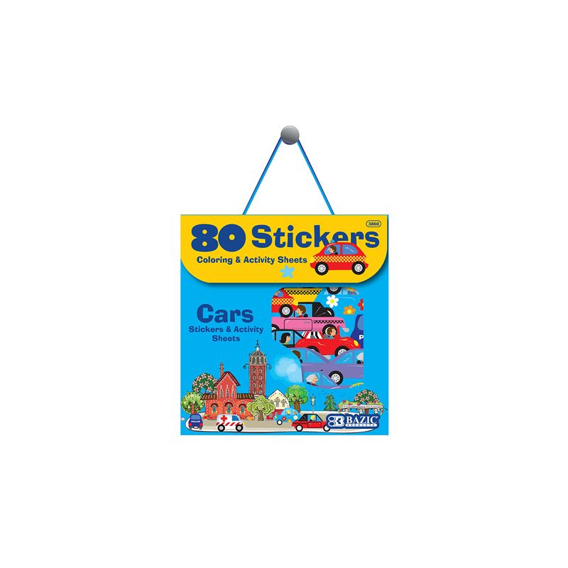 Bazic Stickers / Car Series Assorted (Colouring & Activity Sheets + 80 Stickers)