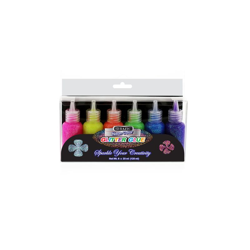 Bazic Neon Colour Glitter Glue / 20ml Each (Pack of 6) Assorted Colours