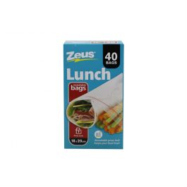 Zeus Lunch Bags With Press Lock / 18 x 20cm (Pack of 40) BPA Free (Resealable)