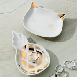 RRP$12.99 Ring Dish / Pineapple Shape with Rose Gold Detail (8x13cm)