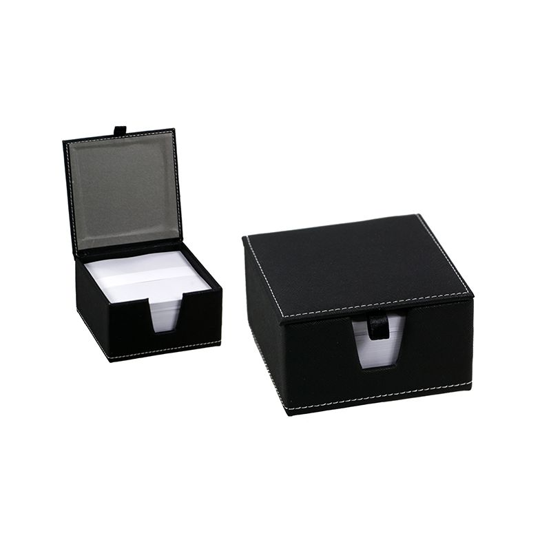 Memo Box Textured PU - Black / 11 x 11 x 6cm (With Notes)