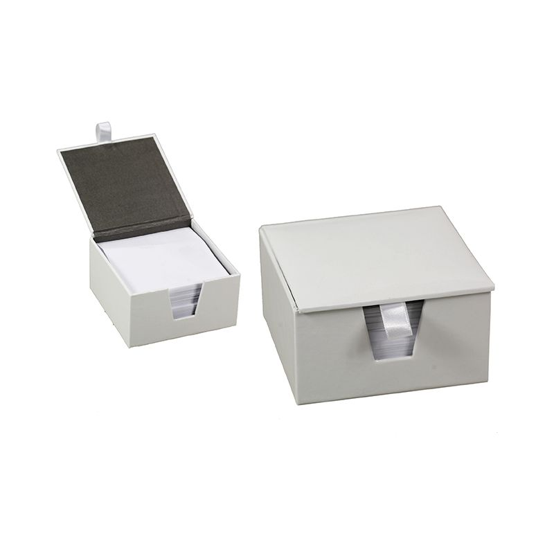 Memo Box Textured PU - Glossy White / 11 x 11 x 6cm (With Notes)