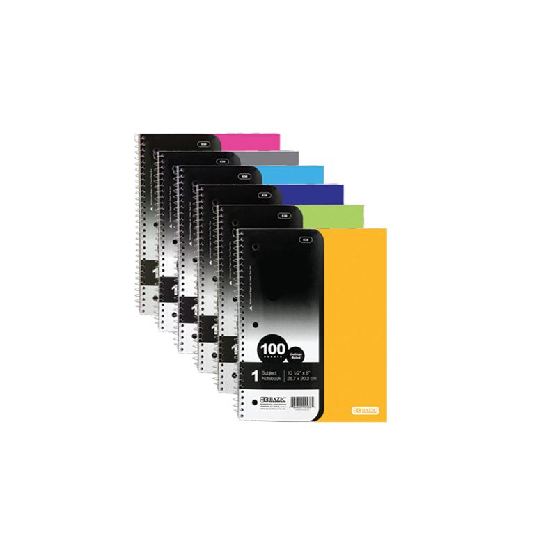 D - BAZIC Subject Poly Cover Spiral Notebook / 100 Sheets 26.7cm x 20.3cm (Assorted Colours)