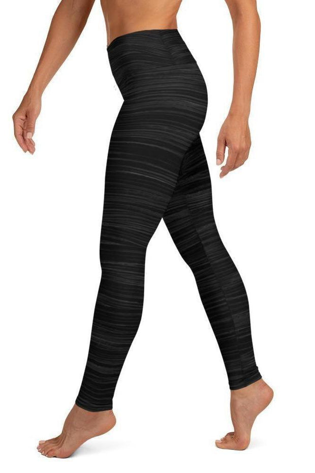 Black Marlin Oil Leggings-women's yoga leggings-Eadness Life