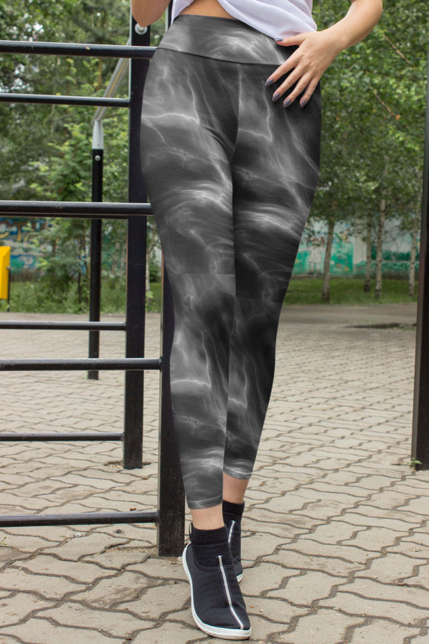 Dark Marble Leggings-women's yoga leggings-Eadness Life